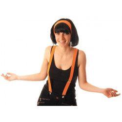 Accessoires de fête, Bretelles fluo orange 80's UV réfléchissantes, 110299, 2,90€