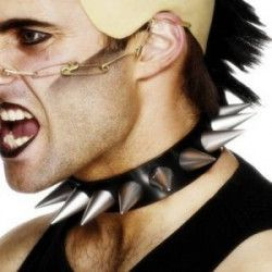 Collier punk vinyle avec pointes Accessoires de fête 55002