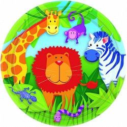 Décoration festive, Assiettes jetables Animaux de la Jungle x 8 Ø 23 cm, 559148, 3,49 €