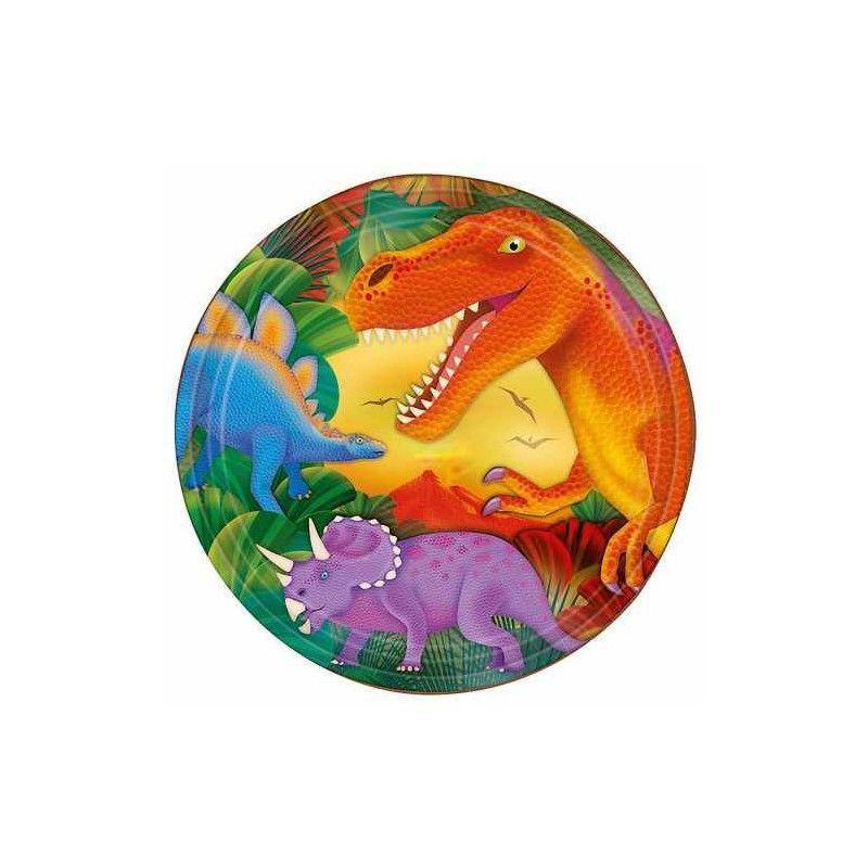 Assiettes jetables Dinosaure x 8 Ø 23 cm Déco festive 559766