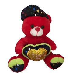 Jouets et kermesse, Peluche ours rouge avec casquette et coeur 30 cm, 5619, 7,90€