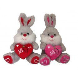 Peluche lapin avec coeur 25 cm Jouets et kermesse 5657