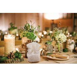 Déco festive, Pochon dentelle écru x 4 mariage, 11040, 5,95€