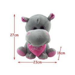 Peluche hippopotame assis avec coeur 27 cm Jouets et articles kermesse 57921