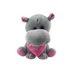 Peluche hippopotame assis avec coeur 27 cm Jouets et kermesse 57921