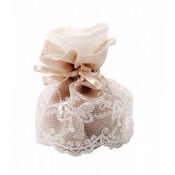 Pochon dentelle taupe x 4 mariage Déco festive 11041