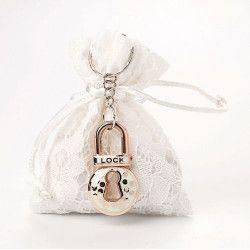 Pochon dentelle blanche mariage x 5 Déco festive 11044