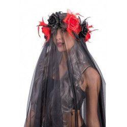 Accessoires de fête, Coiffe halloween avec voilage noir, 6097, 29,90€