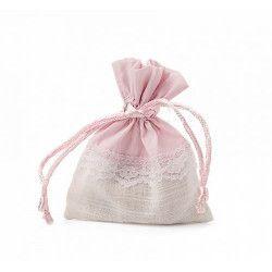 Déco festive, Pochon rose et blanc dentelle x 5, 11046, 3,55€