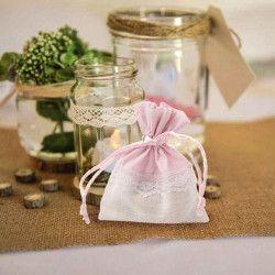 Pochon rose et blanc dentelle x 5 Cake Design 11046