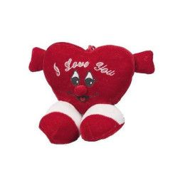 Peluche coeur rouge avec pieds 14 cm Jouets et kermesse 61539