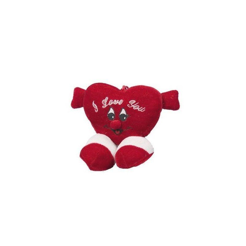 Peluche coeur rouge avec pieds 14 cm Jouets et articles kermesse 61539