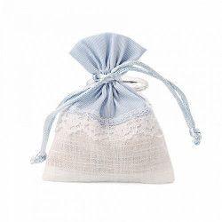Pochon bleu et blanc dentelle x 5 Confiserie 11047