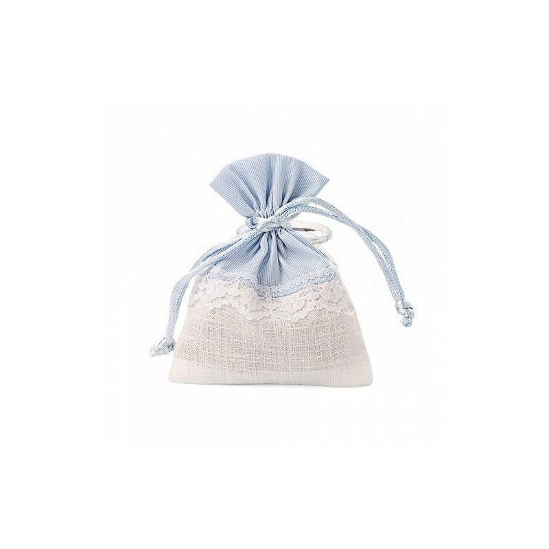 Pochon bleu et blanc dentelle x 5 Cake Design 11047