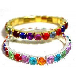 Jouets et kermesse, Bracelet avec pierres multicolores vendu par 48, 6423-LOT, 0,34€
