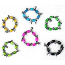 Jouets et kermesse, Lot 12 bracelets extensibles en verre coloré, 6425-LOT, 0,69€
