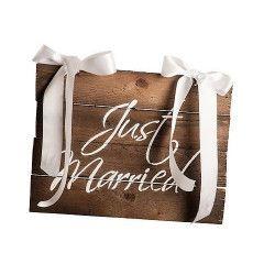 Pancarte bois Just Married avec noeuds Déco festive 6624