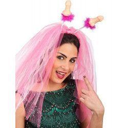 Coiffe humour mariée avec voile rose et zizi Accessoires de fête 6643