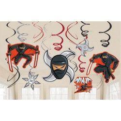 Guirlandes verticales Ninja à suspendre x 12 éléments Déco festive 671587