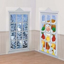Décors muraux fenêtres Noël 165 cm x 85 cm Déco festive 672142