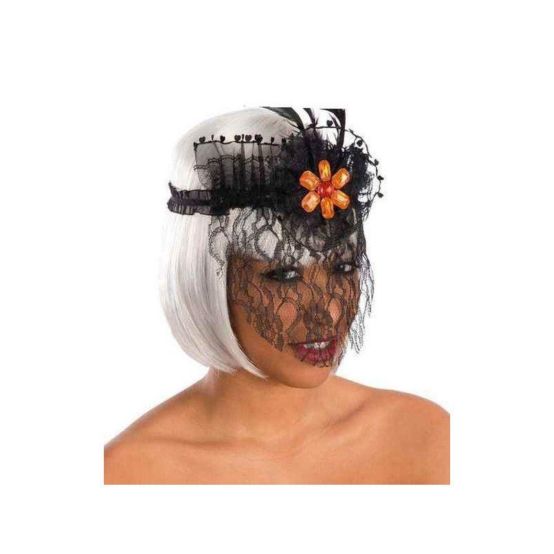 Bandeau halloween noir avec voile et plume Accessoires de fête 6769