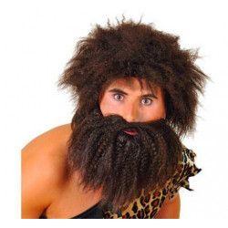 Perruque et barbe homme des cavernes Accessoires de fête 67784
