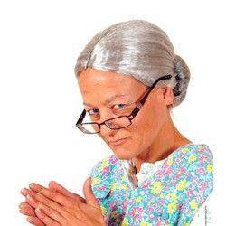 Perruque grise de Mamie Accessoires de fête 67821