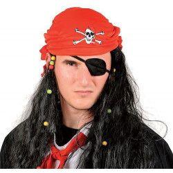 Perruque pirate noire avec bandana rouge Accessoires de fête 67883