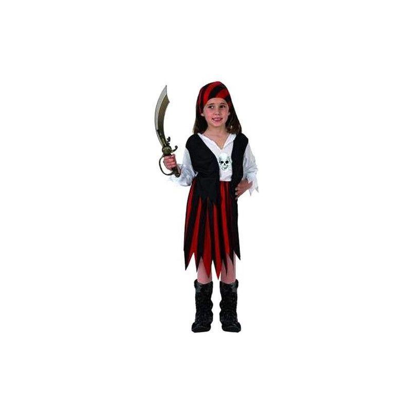 Déguisements, Déguisement Pirate rouge et noir fille 5-6 ans, 70103, 14,90€
