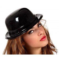 Chapeau melon noir PVC Accessoires de fête 70356