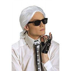 Perruque blanche Karl avec queue de cheval Accessoires de fête 11278700