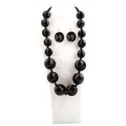 Set collier et boucles d'oreilles noirs Accessoires de fête 70860