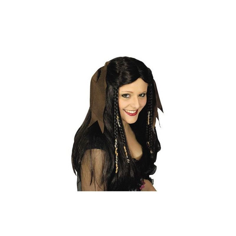 Perruque choco noir avec foulard Accessoires de fête 11279731