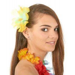 Barrette fleur hibiscus jaune hawaï Accessoires de fête 71143