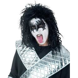 Perruque noire chanteur rock Accessoires de fête 71794