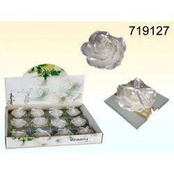 Déco festive, Bougie blanche flottante avec assiette en verre, 719127, 2,80€