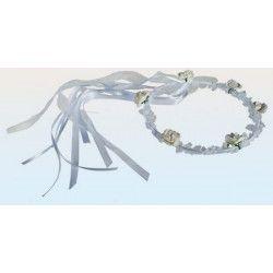 Serre-tête blanc de mariage avec fleurs Déco festive 719186
