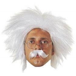 Perruque blanche Einstein avec moustache Accessoires de fête 72062