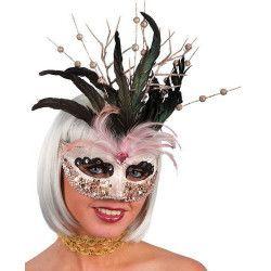 Masque vénitien en tissu ivoire avec plumes Accessoires de fête 722-