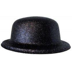 Chapeau melon paillettes noir Accessoires de fête 75635
