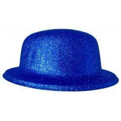 Chapeau melon paillettes bleu Accessoires de fête 75659