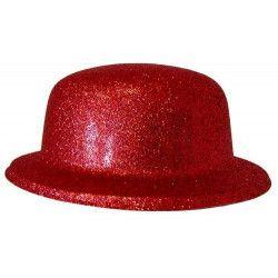 Chapeau melon paillettes rouge Accessoires de fête 75666