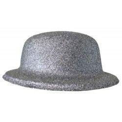 Chapeau melon paillettes argent Accessoires de fête 75673