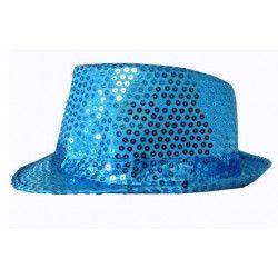 Chapeau Cabaret paillettes bleu Accessoires de fête 76199