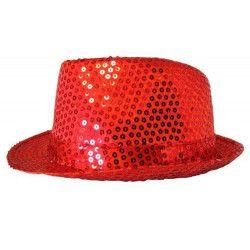 Chapeau Cabaret paillettes rouge Accessoires de fête 76205