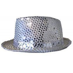 Chapeau Cabaret paillettes argent Accessoires de fête 76212