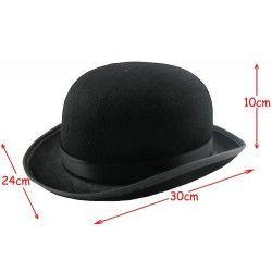 Chapeau melon noir avec ruban Accessoires de fête 76434