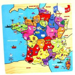 Jouets et kermesse, Puzzle bois carte France 40x30 cm, 766067, 7,90€