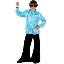 Déguisements, Déguisement disco enfant bleu brillant taille 4-6 ans, 7682, 21,90€
