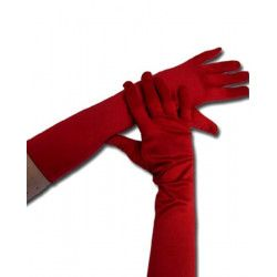 Gants longs en satin rouge Accessoires de fête 80665